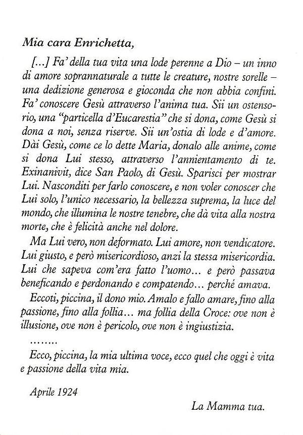 lettera della Beata Maria alla figlia Enrichetta