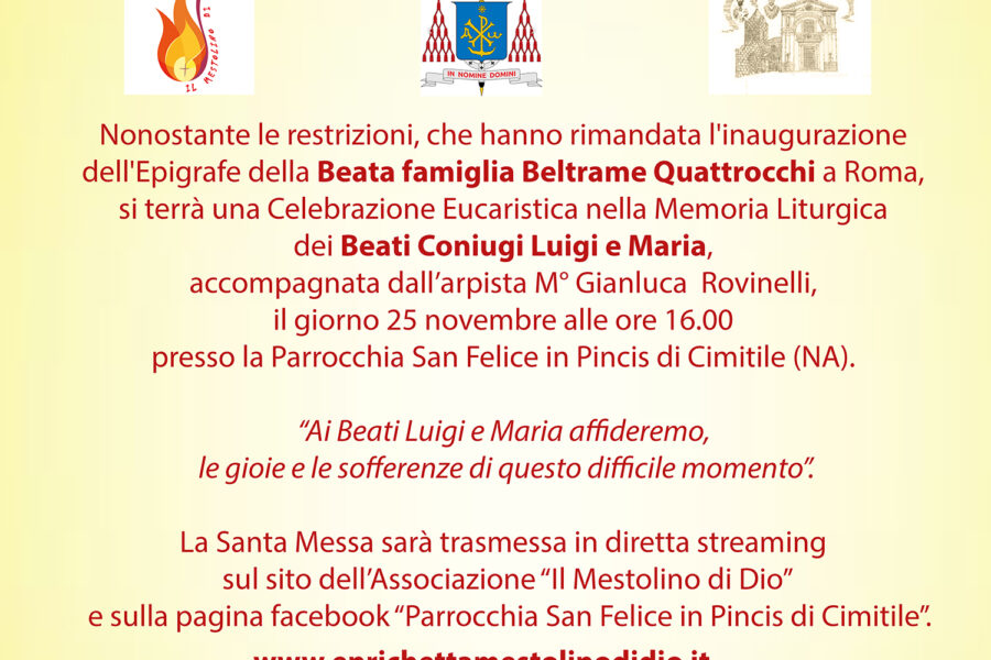 Diretta: Celebrazione Eucaristica in memoria dei Beati Coniugi Luigi e Maria