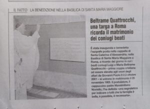 Epigrafe a Roma per i beati Beltrame Quattrocchi
